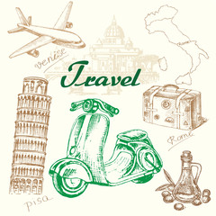 Hand drawn travel set italy