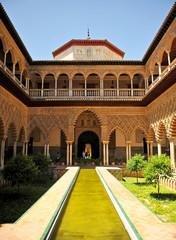 Alcázar palace in Seville, courtyard of Las Doncellas, Spain