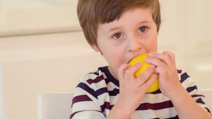 Little boy trying to bite lemon