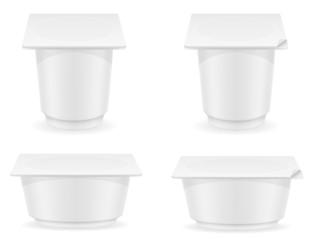 white plastic container of yogurt vector illustration
