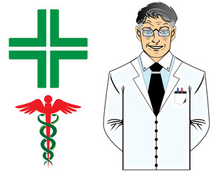 Senior doctor with medical symbol