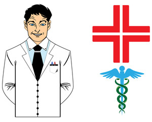 Young doctor with medical symbol