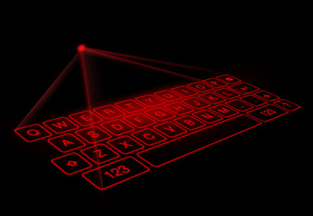 Digital virtual keyboard on black background