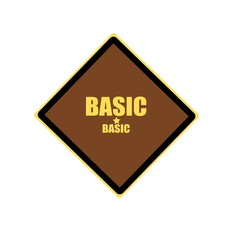 Basic yellow stamp text on brown background