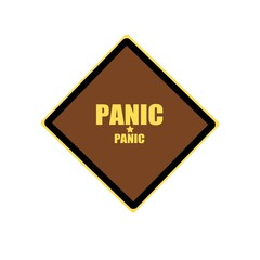 Panic yellow stamp text on brown background