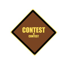 Contest yellow stamp text on brown background