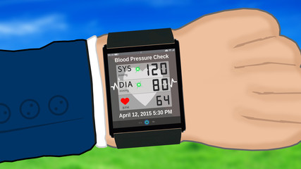 Blood Pressure Check - watch smartphone watch with hand - e3524