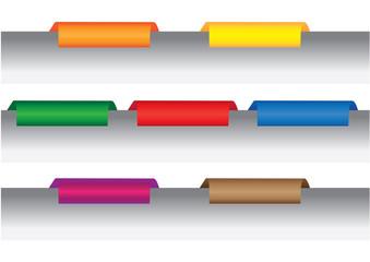 Colorful file folder tabs and labels vector design elements