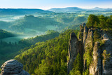 View from viewpoint of Bastei in Saxon Switzerland, Germany