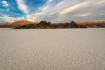 The Racetrack Playa on sunset in Death Valley National Park