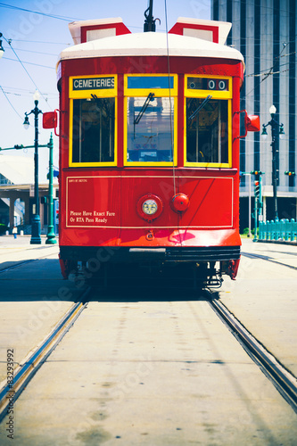 Plagát Red Street Car in New Orleans