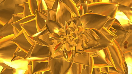 Golden Flower Opening. 3D Animation. Loopable.
