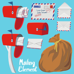 Set of Red Mail box,Letter envelope and Mail bag