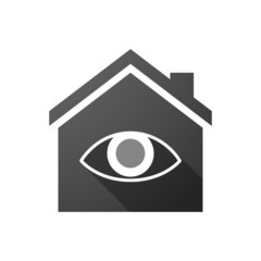 Black house icon with an eye