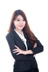 Portrait of happy young business woman ,Crossed arms
