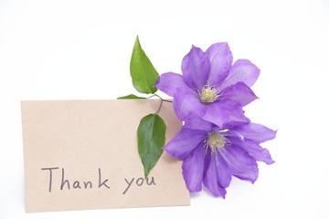 メッセージカードと花