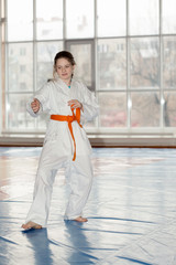A girl on Aikido training