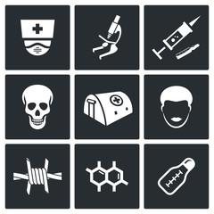 Ebola epidemic icons set