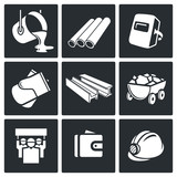 Metallurgy industry Icons set poster