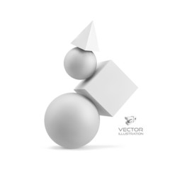 3d geometrical composition. Abstract vector illustration.