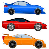 Set of Sports Car and Muscle Car
