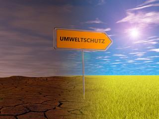 Umweltschutz Umleitung Schild Wiese Sonne grün Natur Weg