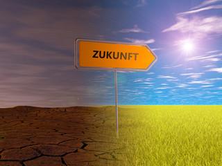 Zukunft Umleitung Schild Wiese Sonne grün Natur Weg