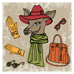 Hand drawn deer hipster girl with accessories.Colors