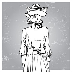 Hand drawn deer hipster girl in dress.Outline