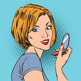 Fototapety face of a girl with her compact mirror makeup woman pop art comi