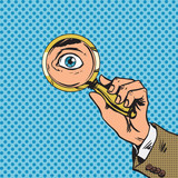 Fototapety Look through a magnifying glass searching eyes pop art comics re