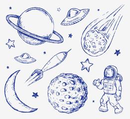 Space doodle set vector elements
