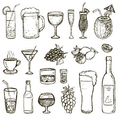Set of vector Sketch Cocktails and Alcohol Drinks
