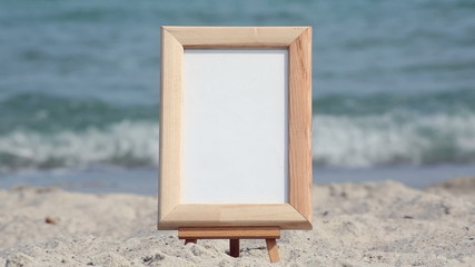 Frame and starfish on a sea background
