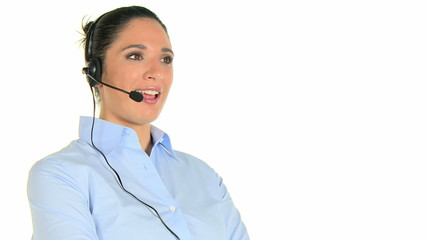 Business operator with headset