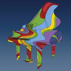 Piano à queue psychédélique
