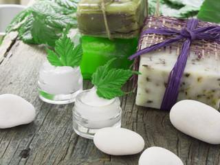 organic cosmetics, facial cream fresh as green leaves