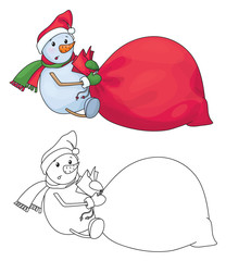Vector snowman with big bag.