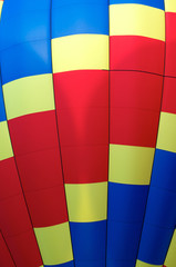 close up detail of hot air balloon of primary colors