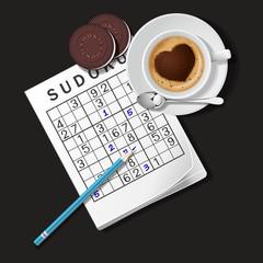 illustration of Sudoku game, mug of coffee and cookies