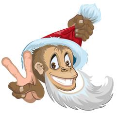 Monkey in Santa hat showing two fingers. Symbol 2016.