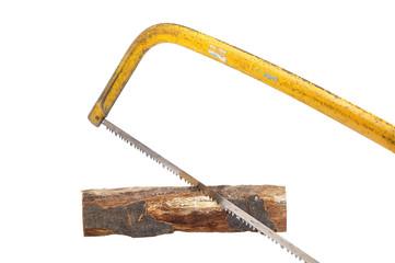 Saege mit Holz