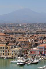 Seaside city at bottom of volcano. Catania, Sicily, Italy