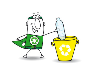 Recycling a plastic bottle with Joe