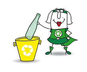 Recycling a plastic bottle with Karen
