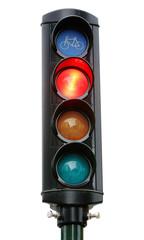 Trafiksignal cykelöverfart med rött sken.