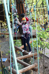 Family training in adventure park