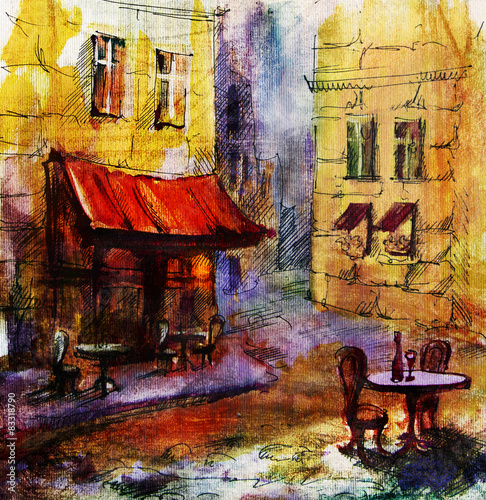 Fototapeta French outdoor european cafe painting, graphic drawing in color