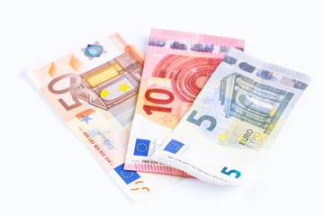 Money, Euro currency (EUR) bills isolated.