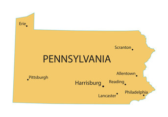 yellow map of Pennsylvania with indication of largest cities